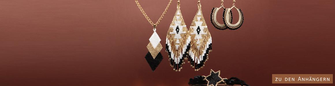 Schmuck mit handgefädelten Ornamenten aus japanischen Rocailles