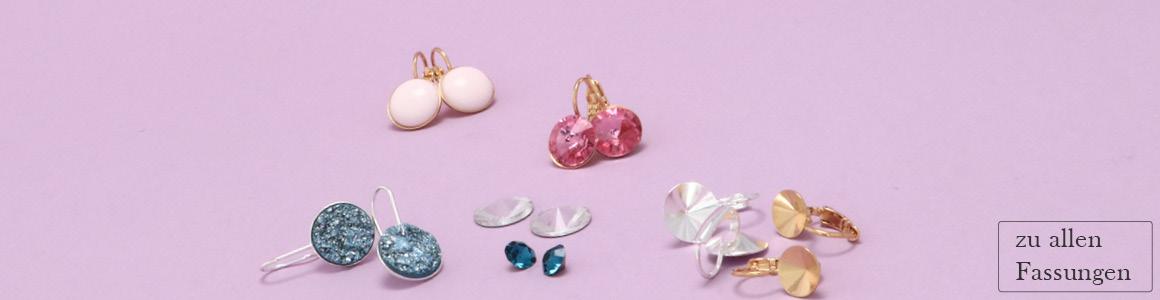 Ohrhänger und Stecker mit Steinen und Cabochons
