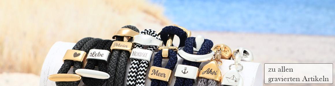 Armbänder mit Segeltau und Gravuren