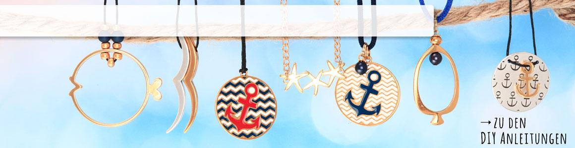 Maritime Anhänger und Perlen