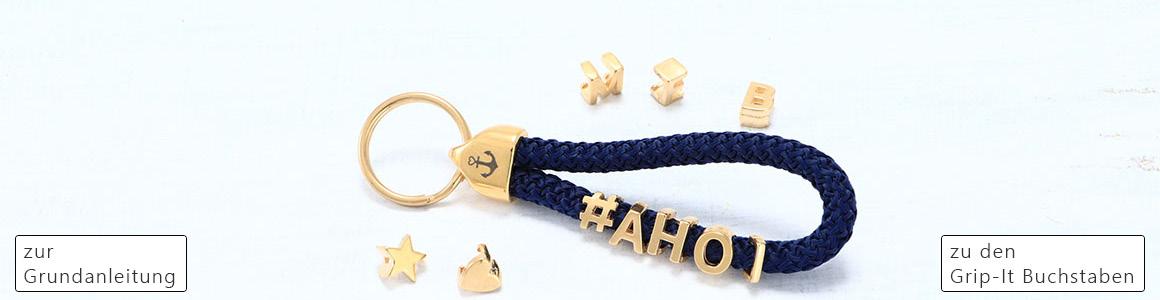 Schlüsselanhänger mit Grip-It Slidern und Segeltau
