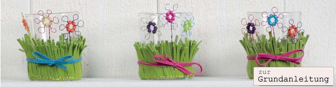 Windlicht Blumenwiese mit Draht und Polarisperlen